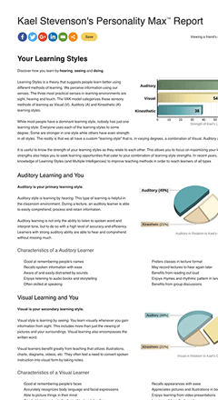 Learning Styles Test Results